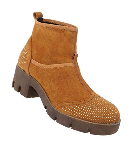 7666595293c5 Damen Stiefeletten   Boots mit Nieten   Knöchelhohe Stiefel Leder-Optik    Robuste Stiefelette