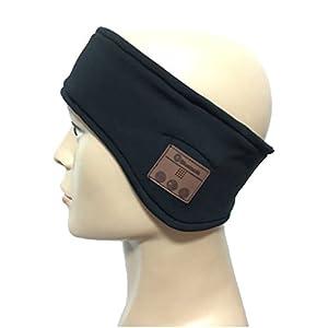 DOLIROX Washable Wireless Bluetooth Health Cloth Music Running Headband Hands-free Phone Call Answer Ears-free Headband With Built-in Speakders and Mic-2015 Upgrade Version (Headband Black B)