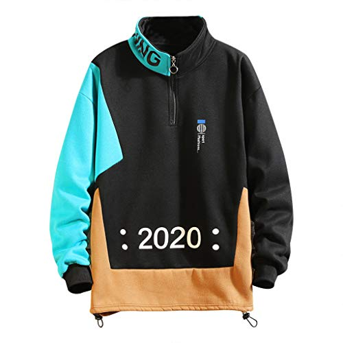 LEKODE Men Sweatshirt Fashion Print Plus Size Long Sleeve Stand Neck Tops(Black,L(L)) (Pink Dolphin Tie Dye Hoodie For Sale)