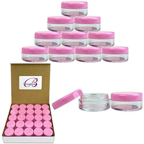 (Beauticom 5G/5ML High Quality Clear Plastic Cosmetic Container Jars with PINK Lids, 50 Pcs)