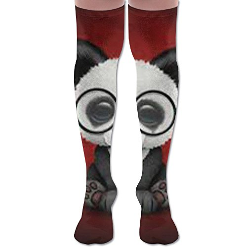 Cute Panda Bear Cub With Eye Glasses Over Knee High Socks Sports Athletic Casual - Womens Throw Gear Express