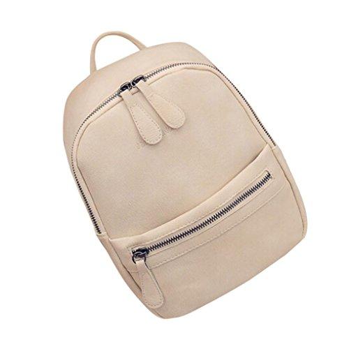Bookbags di spalla viaggio donna studenti borsa Beige zaino pelle lap Ragazza scuola borsa in per zaino moda borse spalla 100 semplice LQQSTORE zaino UqOTpI