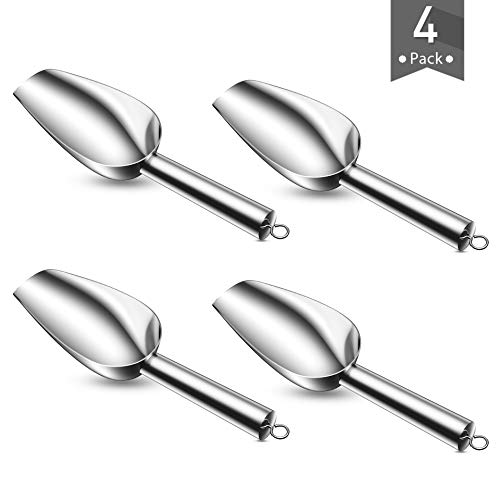Mini Kitchen Scoop, Fungun 4 Ounce Stainless Steel Ice Scoops, Ideal for Candy/Ice Cube/Flour/Sugar/Coffee Bean/Protein Powder, Food Grade & Anti Rust, Easy Clean & Dishwasher Safe (4 Pack)