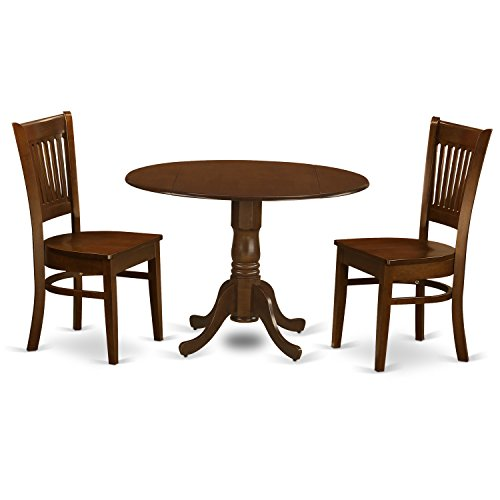 DLVA3-ESP-W 3 Piece Dublin Dining Table With 2 Drop Leaf 9