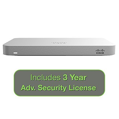 Cisco Meraki MX64 Small Branch Security Appliance Bundle, 200Mbps FW, 5xGbE Ports – Includes 3 Years Advanced Security License