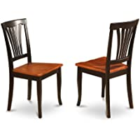 East West Furniture AVC-BLK-W Chair Set for Dining Room with Wood Seat, Black/Cherry Finish, Set of 2