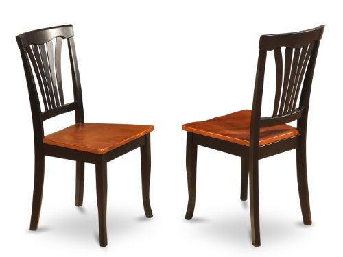 east west furniture avc blk w chair set for dining room with wood seat