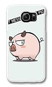 VUTTOO Rugged Samsung Galaxy S6 Edge Case, Funny Mess Pig PC Hard Case for Samsung Galaxy S6 Edge Transparent