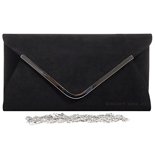 Ladies Suede Prom Purse Envelope Bag Shoulder Wocharm Trim Wedding Silver Velvet Black Clutch Handbag Womens Lavish Bag Party Rd1xq
