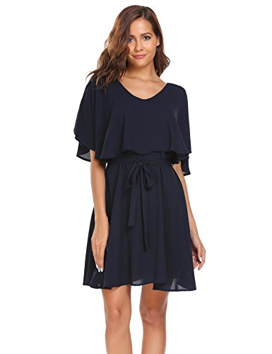 ANGVNS Women's Casual V Neck Ruffle Sleeveless Chiffon Dresses with Belt, Summer Waist Cocktail Party (Chiffon Ruffle Sleeveless)