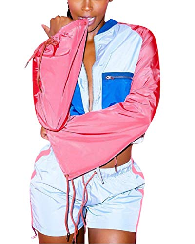 Women's 2 Piece Sportsuit- Long Sleeve Color Block Hooded Crop Top Bodycon Short Pants Set Pink L ()