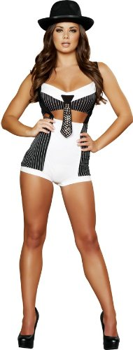 Mobster Women Costume (Roma Costume 2 Piece Mobster Mama Costume, Black/White, Small/Medium)