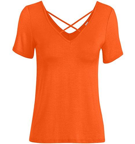 Orange Short Sleeve Shirt Womens Orange Sexy Shirt Orange V Neck - Orange Cross Criss