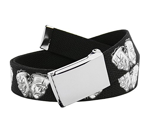Men's Silver Flip Top Belt Buckle with Printed Canvas Web Belt Small Smile Now Cry Later Print (Printed Canvas Belt)