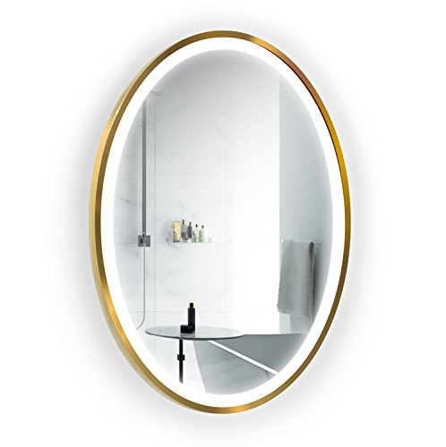 Krugg LED 24 Inch x 36 Inch Lighted Oval Gold Frame Mirror ()