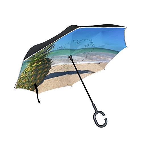 Ladninag Reverse Umbrella Sunshine Waves Pineapple Inverted Umbrella Reversible for Golf Car Travel Rain Outdoor Black