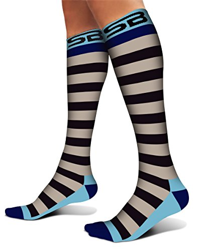 SB SOX Compression Socks (20-30mmHg) for Men & Women - Best Stockings for Running, Medical, Athletic, Edema, Diabetic, Varicose Veins, Travel, Pregnancy, Shin Splints (Stripes - Gray/Blue, Medium)