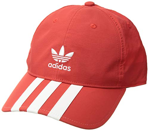 Stripe Visor Beanie - adidas Men's Originals Relaxed Applique Strapback Cap, hi/Res red/white, One Size