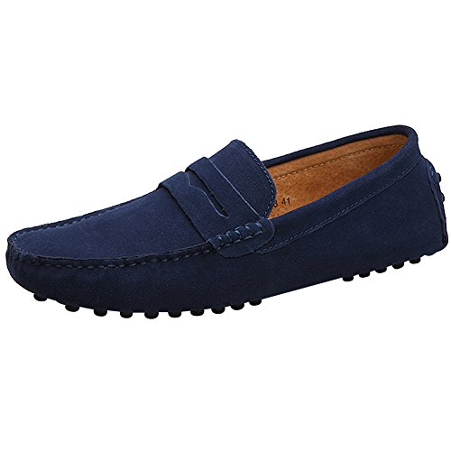 rismart Mens' Minimalism Driving Loafers Shoes Soft Suede Moccasin Slippers Navy 2088 (Navy Suede Moccasins)