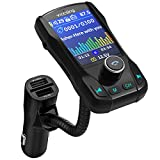 """VicTsing Bluetooth FM Transmitter for Car,1.8"""" TFT Display Color Screen,Wireless Bluetooth Radio Transmitter"""