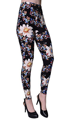 VIV Collection Plus Size Printed Leggings (Flower Burst)