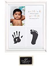 C.R. Gibson ''Your Little Hands Stole My Heart and Your Little Feet Ran Away With It'' Foot Print and Hand Print Baby Photo Frame, 8.75'' x 10.8''
