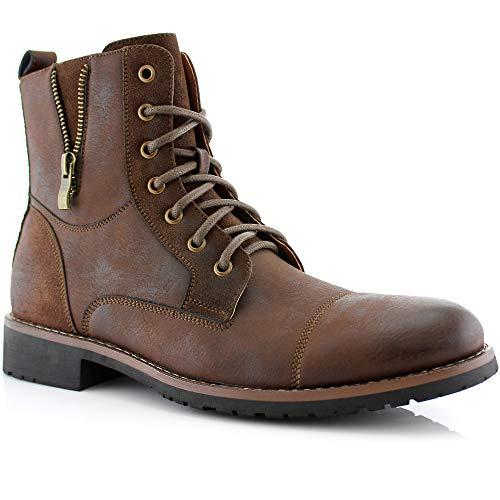 Ferro Aldo Reid MFA808561B Mens Casual Cap Toe Boot Motorcycle Zipper Boots Men Dark Brown