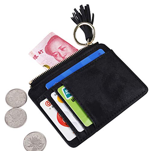 Small Womens Wallet, Slim Card Holder Wallet Minimalist Leather Front Pocket Wallet for Men Mini Purse with Keychain Tassel