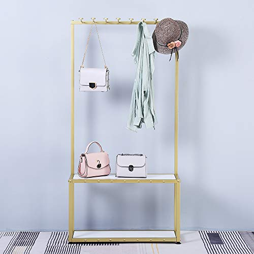 """FURVOKIA Industrial Metal Pine Wood Entryway Furniture Hall Trees with Coat Rack Shoe Bag Hat Storage Bench,Floor-Standing 2 Tier Display Stand (Gold Square Tube, 31.5"""" L)"""