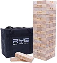 Raise Your Game Giant Wooden Tower (Stacks to a Maximum of 5 feet), Large Tumbling Block Timbers , Wood Stacki