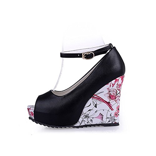 Material BalaMasa Print Wedges Black Soft BalaMasa Sandals Animal Womens Womens H0nxw5pqTg