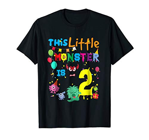 This Little Monster Is 2 Year Old Birthday Halloween T Shirt