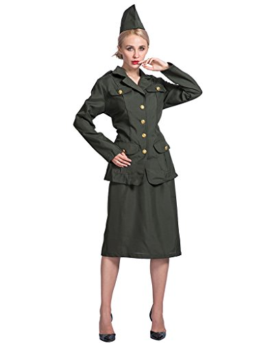 EraSpooky Women World War Army Girl Soldier Costume(Army Green, Large)