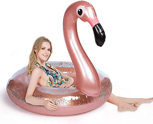 Giant Flamingo Swimming Pool Float - Happytime 2019 Flamingo Inflatable Pool Float with Glitters Inflatable Lounge Raft Tube Swim Ring Summer Toys for Adults Toddlers