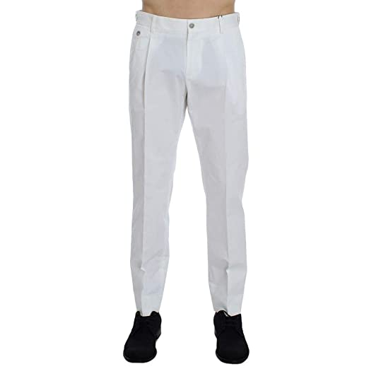 1c91102897c7f Image Unavailable. Image not available for. Color  Dolce   Gabbana White  Cotton Stretch Chinos Pants