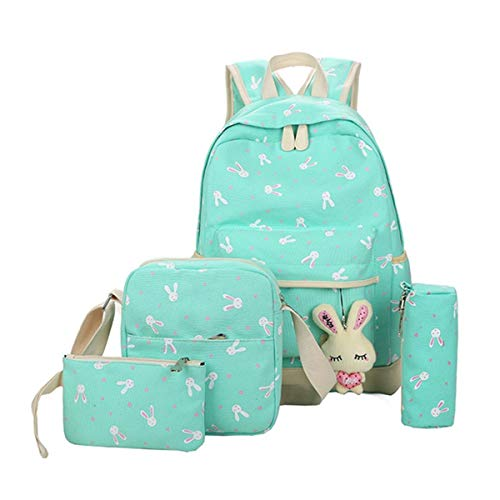 Backpack,Caveen Cute Funny Canvas School Bag Back to School Backpack Shoulder Bag(5 piece set) for Kids/ Girls/Boys/Teenagers Green