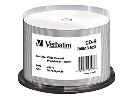Verbatim CD-R Wide Thermal Printable 700 MB 50 Pieza(s) - CD ...