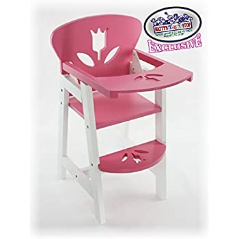 Mattyu0027s Toy Stop 18 Inch Pink/White Wooden Doll High Chair With Lift Up