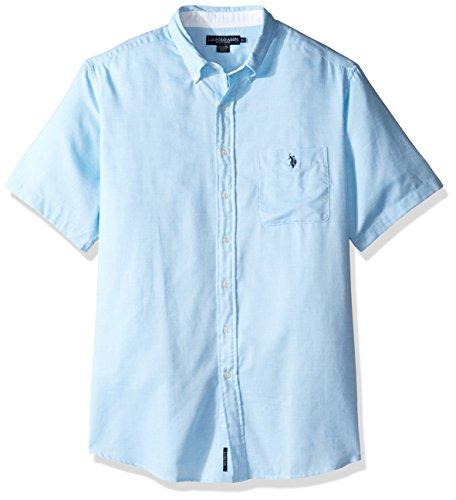 Pocket Plaid Sport Shirt (U.S. Polo Assn. Men's Tall Classic Fit Single Pocket Stripe, Plaid Or Print Sport Shirt, Flipflop Blue, 2X Big)