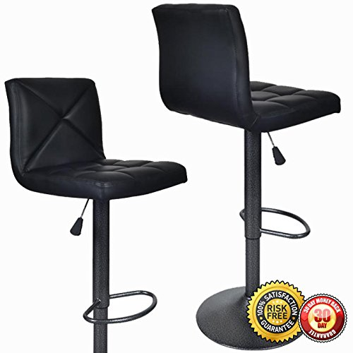 New 2 PU Leather Modern Adjustable Swivel Barstools Hydraulic Chair Bar Stools