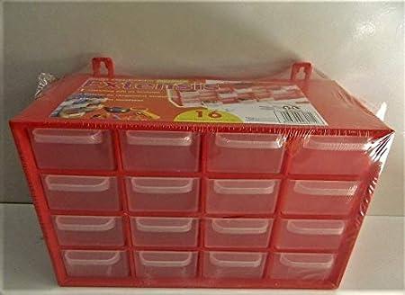 Casier De Rangement 16 Tiroirs Boite Vis Clous 27cm Rouge Amazon Fr Bricolage