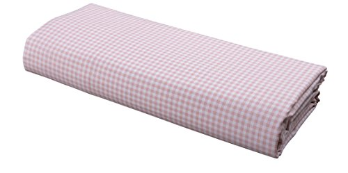 FLAT Sheet by DELANNA 100% Cotton Percale Weave Top Sheet Crisp, Comfortable, Breathable, Soft and Durable (Queen, Rose Pink Gingham)