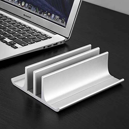 Double Adjustable Vertical Laptop Stand Newly Designed 2 Slot Aluminum Desktop Dual Holder for All MacBook/Chromebook/Surface/Dell/iPad Up to 17.3 Inches - Silver...