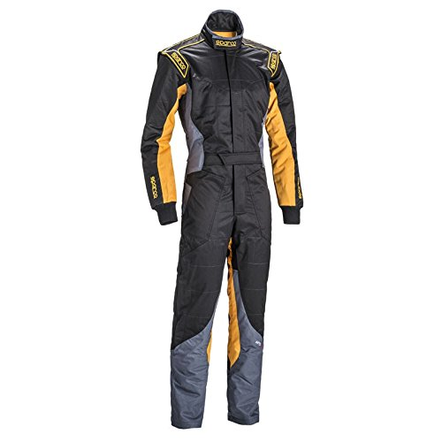 Sparco KS-5 Karting Suit (Black/Gray/Yellow, Large) ()