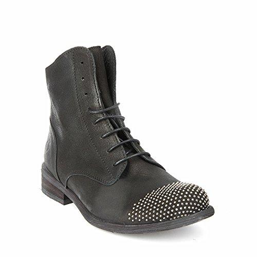 Felmini - Damen Schuhe - Verlieben Bomber 9116 - Schnürung Stiefel - Echte Leder - Schwarz