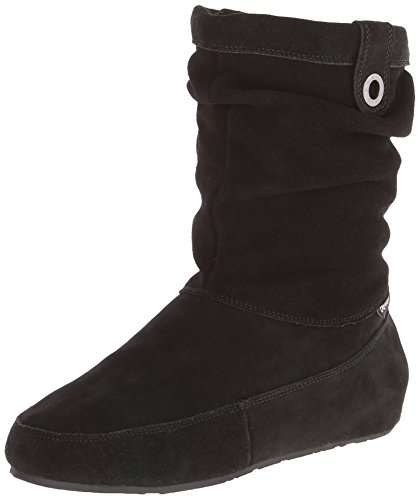Bearpaw Women's Travel Snow Boot, Black Suede, Sheepskin, 11
