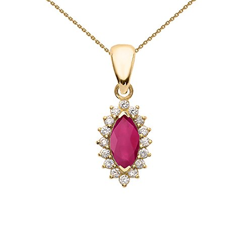Diamond And Ruby 14k Yellow Gold Fancy Pendant Necklace, 22