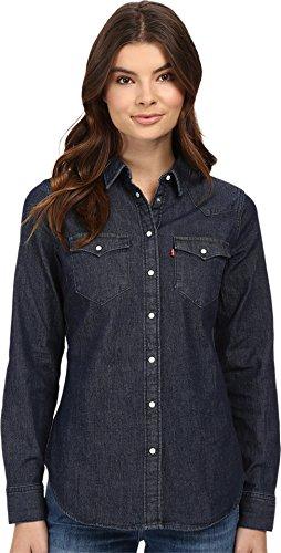 Levi's Women's Tailored Classic Western Shirt, Vintage Dark, Medium - Wash Denim Button