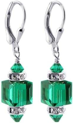 Gem Avenue Sterling Silver Swarovski Elements Emerald Color Cube Handmade Drop Crystal Earrings