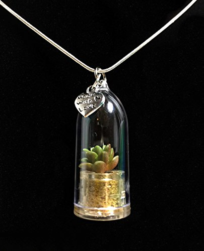 (Live Stone Rose Succulent Necklace Wearable Miniature Succulent Necklace Nature Terrarium Necklace)